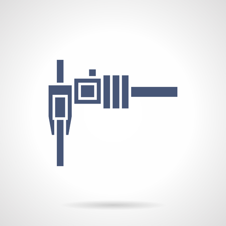 sliding caliper: Sliding caliper or vernier. Tool for exact measurement values. Metrology, technical science, engineering and construction. Symbolic blue glyph style vector icon. Element for web design and mobile.