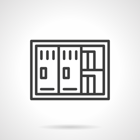 sensitive: Two-door safe with documents. Saving sensitive information and financial documents. Banking, management, office equipment. Simple black line vector icon. Single element for web design, mobile app.