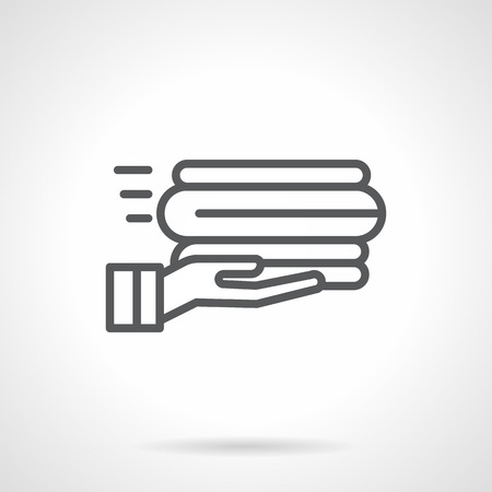 folded clothes: Neatly folded linen on hands. Services on laundry clothes for household and hotel. Sale of towels and bed linen. Simple black line vector icon. Single element for web design, mobile app.