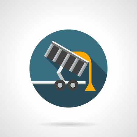 grain storage: Unloading grain from trailer. Transportation of crop to plants or storage of agricultural products. Round flat color style vector icon. Web design element for site, mobile and business. Illustration