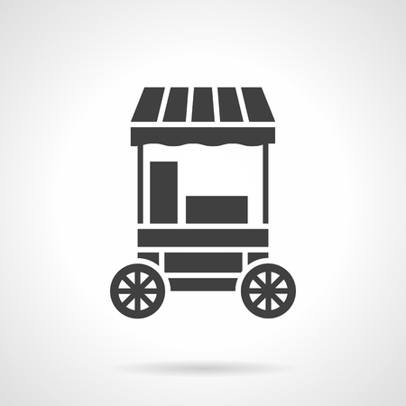 Striped trading cart for selling cotton candy. Street trade in confectionery products on entertainment events for children. Symbolic black glyph style vector icon. Element for web design and mobile.