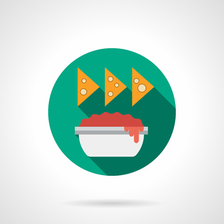 chips and salsa: Tomato sauce in bowl and nachos with long shadow. Recipes of traditional Mexican cuisine. Spicy food, restaurant menu. Round flat color vector icon. Web design element for site, mobile and business. Illustration