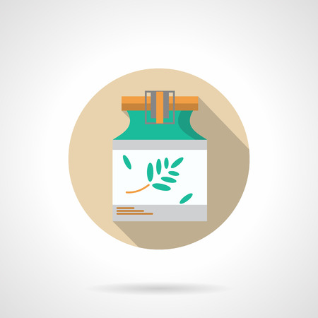 ointment: Herbal ointment in green jar. Alternative treatment of skin diseases. Natural medicine and pharmacology, cosmetics. Round flat color vector icon. Web design element for site, mobile and business. Illustration