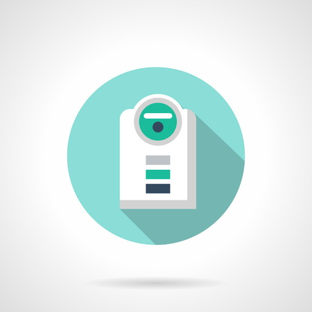 acclimatization: Humidifier with long shadow. Modern climate technology, moistening and cleaning of air at home. Round flat color style vector icon. Web design element for site, mobile and business.
