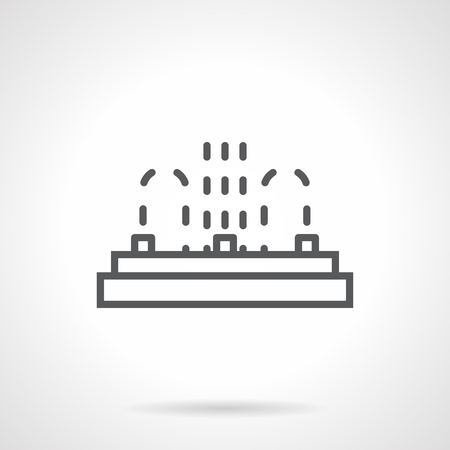 gush: Row of three fountain points. Installation service of fountains. Organization of public recreation and festivals, water show. Simple black line vector icon. Single element for web design, mobile app. Illustration