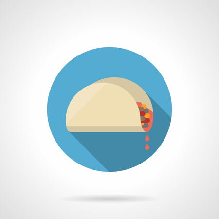 stuffing: Tacos with juicy stuffing, long shadow. Mexican food, meat or vegetable lunch in restaurants. Advertising for fast food. Round flat color vector icon. Web design element for site, mobile and business. Illustration