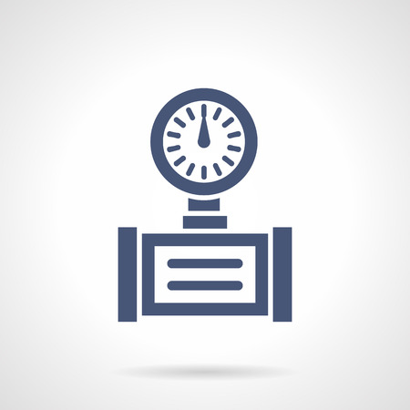 compression: Device with dial gauge. Measurement and control of pressure and temperature in pipelines. Industrial technology. Symbolic blue glyph style vector icon. Element for web design and mobile.
