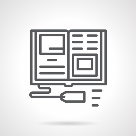 scientific literature: Open textbook with price tag. Publication and sale of educational books, scientific literature for school. Digital marketing, Simple black line vector icon. Single element for web design, mobile app.