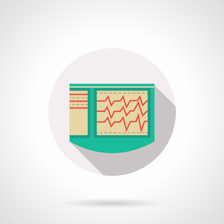 cardiological: Green cardiograph with long shadow. ECG, equipment for cardiological diagnosis. Medical equipment and research. Round flat color style vector icon. Web design element for site, mobile and business.