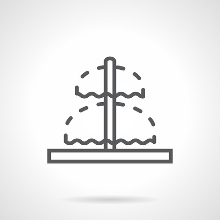 exterior element: Double fountain with pipe in middle. Irrigation and freshness of urban parks and gardens, exterior decoration. Simple black line vector icon. Single element for web design, mobile app.
