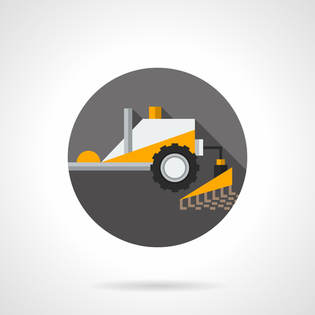 tillage: Yellow tractor for tillage. Plowing equipment. Agriculture, farming, agronomy and soil cultivation. Round flat color style vector icon. Web design element for site, mobile and business.