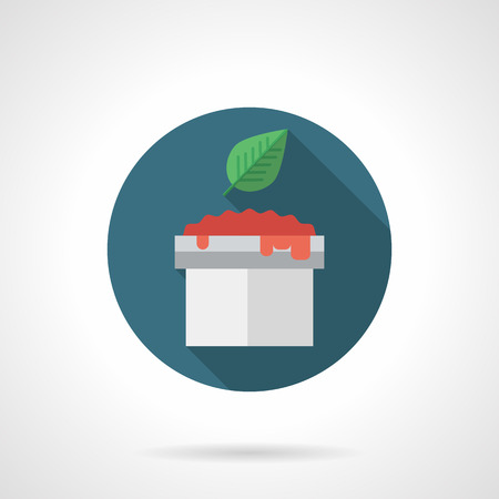 basil leaf: Tomato sauce in bowl with basil leaf with long shadow. Recipes for sauces, spicy menu and vegetarian food. Round flat color style vector icon. Web design element for site, mobile and business.