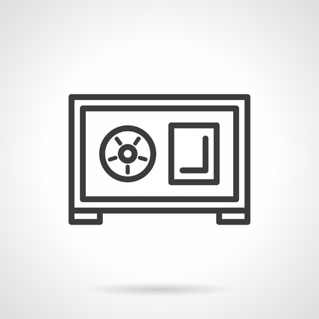 reliable: Steel safe with circular lock. Reliable protection of finance and wealth, safety of bank deposits. Insurance of savings and profit. Simple black line vector icon. Element for web design, mobile app.