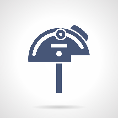 glyph: Tools and instruments for measuring angles. Mechanical protractor. Engineering and science, metrology. Symbolic blue glyph style vector icon. Element for web design and mobile. Illustration