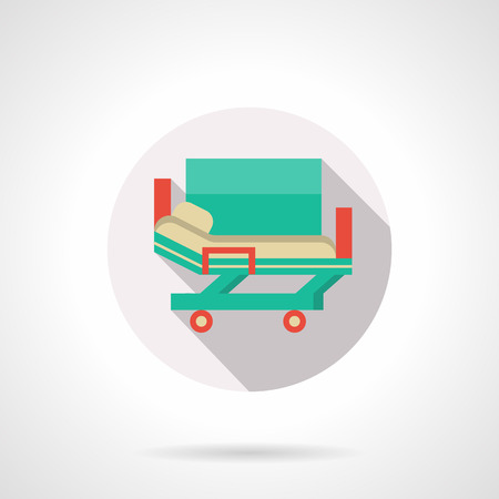hospital stretcher: Green hospital stretcher bed on rollers, long shadow. Medical service, emergency transportation of patient on hospital. Round flat color vector icon. Web design element for site, mobile and business.