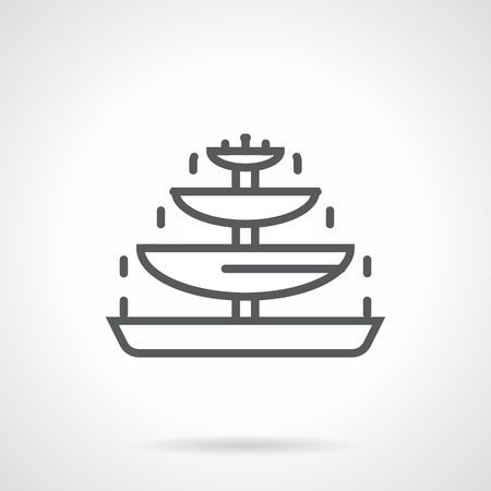 fondue: Tiered chocolate fountain. Sweet food and decoration, party dessert and romantic celebration. Fondue for party. Simple black line vector icon. Single element for web design, mobile app.