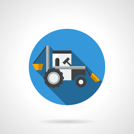 agriculture machinery: Farm excavator with long shadow. Agriculture industrial machinery. Heavy field works, loading of feeds and fertilizers. Round flat color vector icon. Web design element for site, mobile and business.