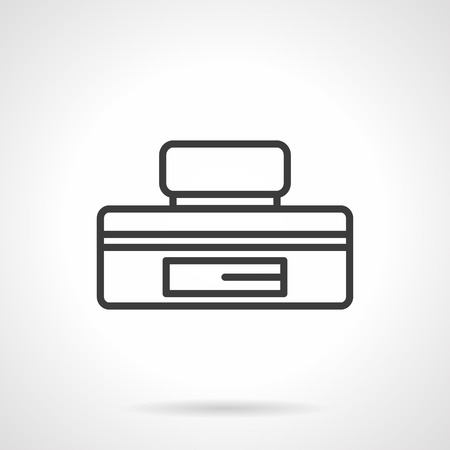 office theft: Metal container for  storage of money and valuables. Underfloor safe box. Reliable protection against robbery, security systems. Simple black line vector icon. Element for web design, mobile app. Illustration