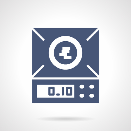 electronic balance: Laboratory measuring equipment. Electronic balance or scales. Chemical research and pharmacy. Symbolic blue glyph style vector icon. Element for web design and mobile. Illustration