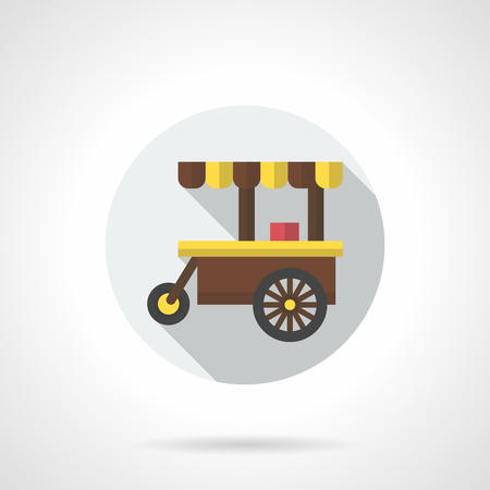 hot wheels: Brown three-wheeled cart with yellow awning. Cafe on wheels. Selling hot drinks, outdoor breakfast, street food trade. Round flat color style vector icon.