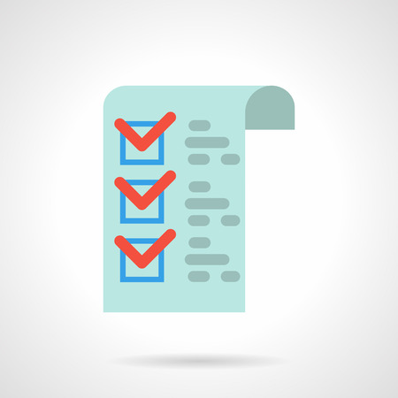 paper forms: Blue paper with red checks and checkbox. Medical checklist, pharmacy prescription. Check clinics office. Correct fill paper forms. Flat color style vector icon.