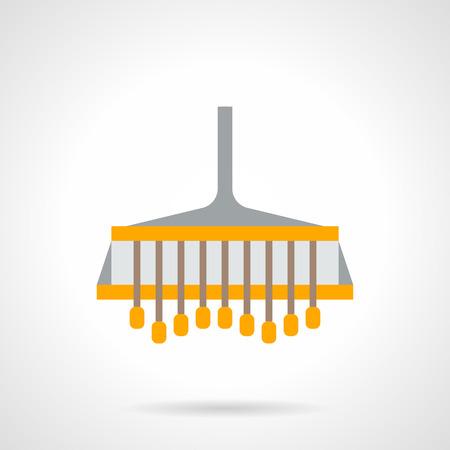 tillage: arado agricultor amarilla. Arar equipos y accesorios para el tractor campo. tecnología de labranza, maquinaria agrícola y de la industria. estilo de color del icono del vector plana.