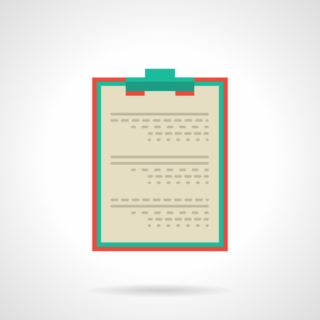 patient data: Document with red clipboard. Medical professional tablet for notes, doctor prescription, patient data and  examination, diagnosis and treatment. Flat color style vector icon.