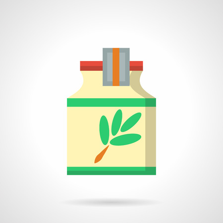 cough medicine: Yellow jar with green leaves label. Herbal cough syrups. Medicine and pharmacology. Medication treatment of colds, alternative therapy.  Flat color style vector icon.