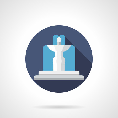 water flowing: Water flowing white fountain in blue circle with long shadow. Garden decoration, landscape architecture and design. Round flat color style vector icon.