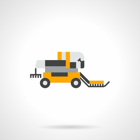 agricultural machinery: A side view of yellow harvester. Farming and agricultural machinery. Equipment for gathering grain harvest. Automation of field work. Flat color style vector icon. Illustration