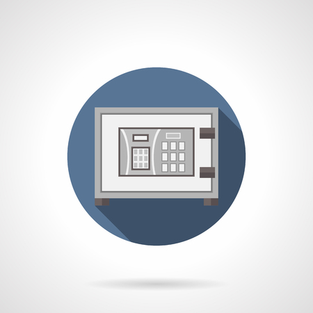 personal service: Metal digital safe with long shadow. Electronic lock with personal password, protective technologies for banks. Security service and insurance. Round flat color style vector icon. Illustration