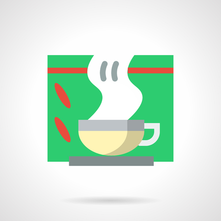 colds: Hot tea in cup with steam and green box. Drink for colds, winter menu for cafes and restaurants. Herbal decoction. Flat color style vector icon.
