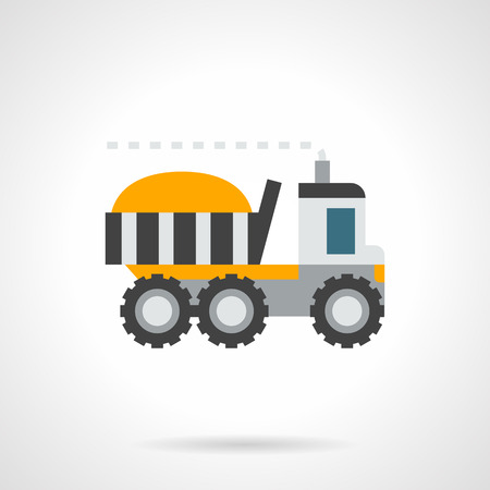 grain storage: Yellow loaded farm truck. Transportation in agriculture, delivery of grain storage, wheat exports. Flat color style vector icon.