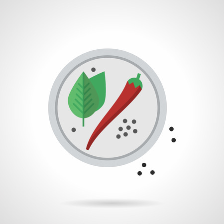 vegetarians: Red chili pepper, black peppercorns and basil leaves on white plate. Spices for restaurant menu. Spicy food, vegetable recipes for vegetarians. Flat color style vector icon. Illustration