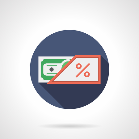 residental: green banknote in red envelope with percent sign. payment with Commission of. market prices. management. residental fee. Real estate purchase. Round flat color style vector icon.