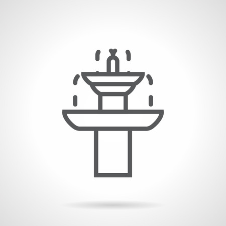 landscape architecture: Dripping two-tiered fountain. Beautiful garden architecture for landscape decoration. Rest in garden. Simple black line icon. Single element for web design, mobile app. Illustration