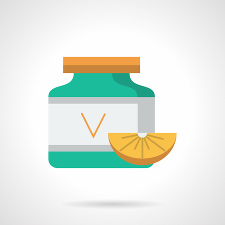 deficiency: Green vitamins jar with scorbutic acid and slice orange. Healthy nutrition and lifestyle. Pharmacy and drugstore. Care of immunity and prevention vitamin deficiency.