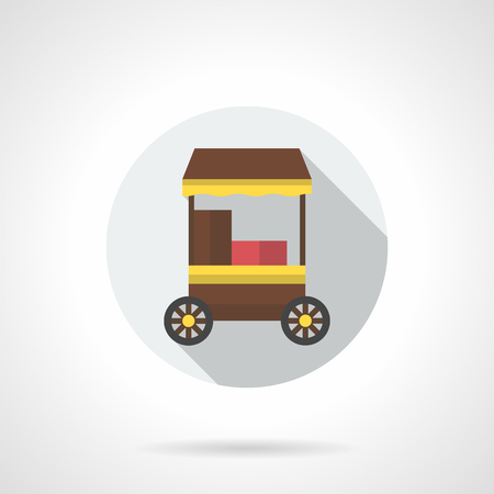 hot wheels: Brown trolley for street cafe on wheels. Hot coffee and food, delivery and service. Trade in parks, festivals, markets. Round flat color style vector icon with long shadow design. Illustration