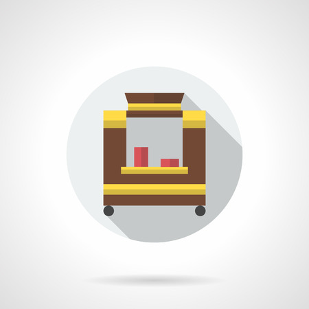 selling service: Brown trade trolley with red disposable cups. Selling hot drinks. Street market service. Delivery and sale of coffee, cocoa, cappuccino. Round flat color style icon. Illustration