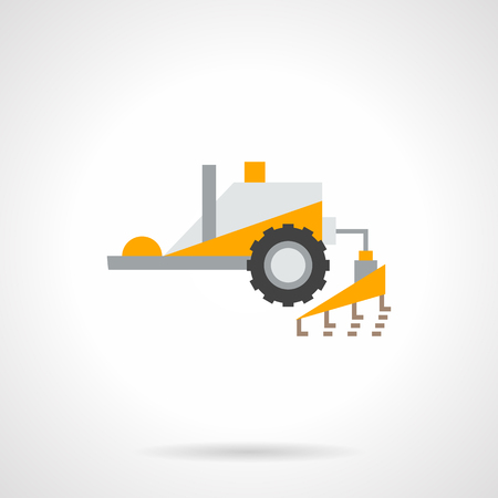 agricultural equipment: Yellow tractor with plowing equipment. agricultural vehicles and machines for tillage, soil preparation. Farming and agro theme. Flat color design vector icon.