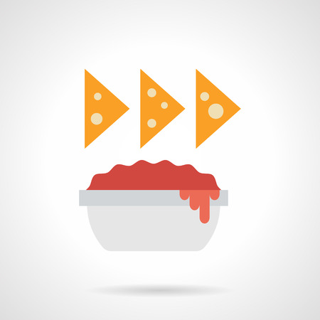 chips and salsa: Three cheese nachos over bowl with red sauce. Spicy food for restaurant, vegetarian menu, traditional Mexican cuisine snacks. Flat color design vector icon.