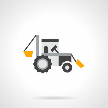 agricultural equipment: Farming tractor a side view with yellow elements. Excavator and agricultural equipment for digging and loading. Flat color design vector icon.