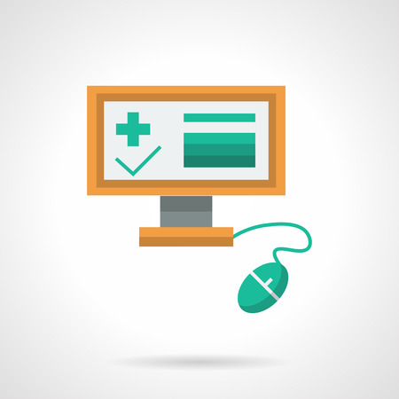electronic survey: Computer monitor with green medical elements and mouse. Online exam in medicine, education, professional assistance on distance. Flat color design vector icon.