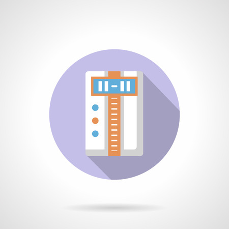 climatic: Digital temperature controller with long shadow. Household appliance and equipment, climatic technics. Round flat color design vector icon. Illustration