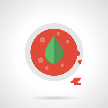 tomato sauce: Tomato sauce or ketchup with oregano. A top view of white dish with red sauce and green leaf. Ingredients and spicy for soup, pizza, appetizers and other food. Single flat color design vector icon.