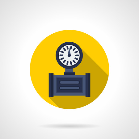 pressure gauge: Blue pressure gauge with dial, long shadow design. Measurement equipment for pipeline. Round yellow flat color vector icon. Illustration