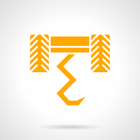 agronomy: Agricultural equipment. Plow with abstract curve blade and wheels. Tillage and farmer field work, soil cultivation technology. Agronomy theme. Symbolic yellow glyph style vector icon. Illustration