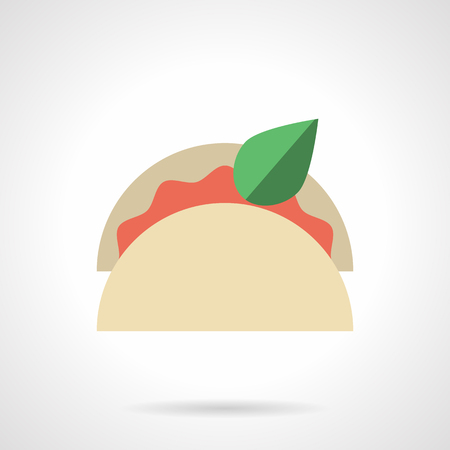fillings: Tortilla with red fillings and leaf. Taco with vegetable and meat. Traditional Mexican cuisine, lunch menu for cafe and restaurant. Single flat color design vector icon.
