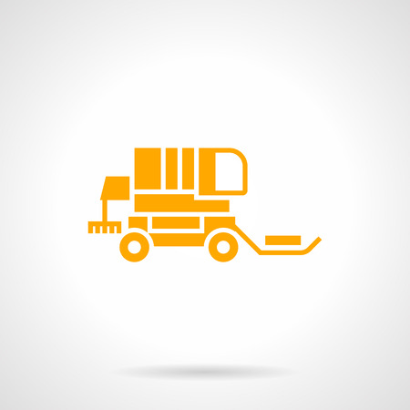 tillage: Brillante silueta en blanco y negro de la cosechadora para la recolección de la paja. Agroganadera maquinaria, equipos y vehículos. amarilla simbólica estilo glifo del icono del vector.