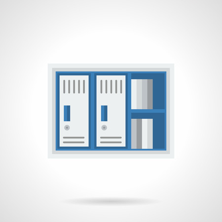 single shelf: Blue and gray cabinet with shelf and two lockers. Furniture and equipment for storage of documents in office. Safety of data, information and finance. Single flat color design vector icon.